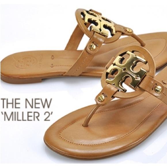 043050a1800 Tory Burch Miller 2 Brown Gold Thong Sandals Sz 9.  M 5c4946be819e900a330a7e5e